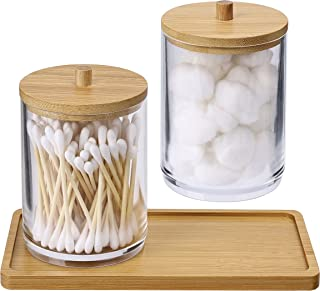 2 Pack Acrylic Qtip Holder Dispenser Bathroom Canisters with Bamboo Tray, Apothecary Jars Qtip Holder Bathroom for Cotton ...