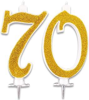 Velas Maxi de 70 años para Tarta de Fiesta de cumpleaños 70. Decoraciones con Velas de felicitación. Ideas para Fiestas temáticas. Altura 13 cm, Color Dorado Brillante
