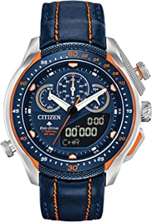 Citizen Men's Promaster Stainless Steel Quartz Watch with Leather Strap, Blue, 22 (Model: JW0139-05L)