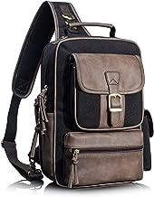 Leaper Retro Messenger Bag Unisex Crossbody Bags Travel Bag Satchel Black