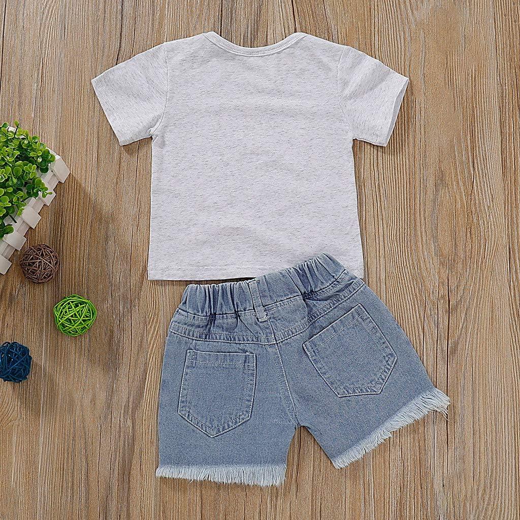 Little Girl Summer Princess Sets,Jchen Kids Baby Little Girl Short Sleeve Letter T-Shirt Lace Denim Shorts Outfits for 1-5 Y