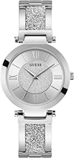 Guess Womens Silver Quartz Watch, Analog Display and Stainless Steel Strap W1288L1