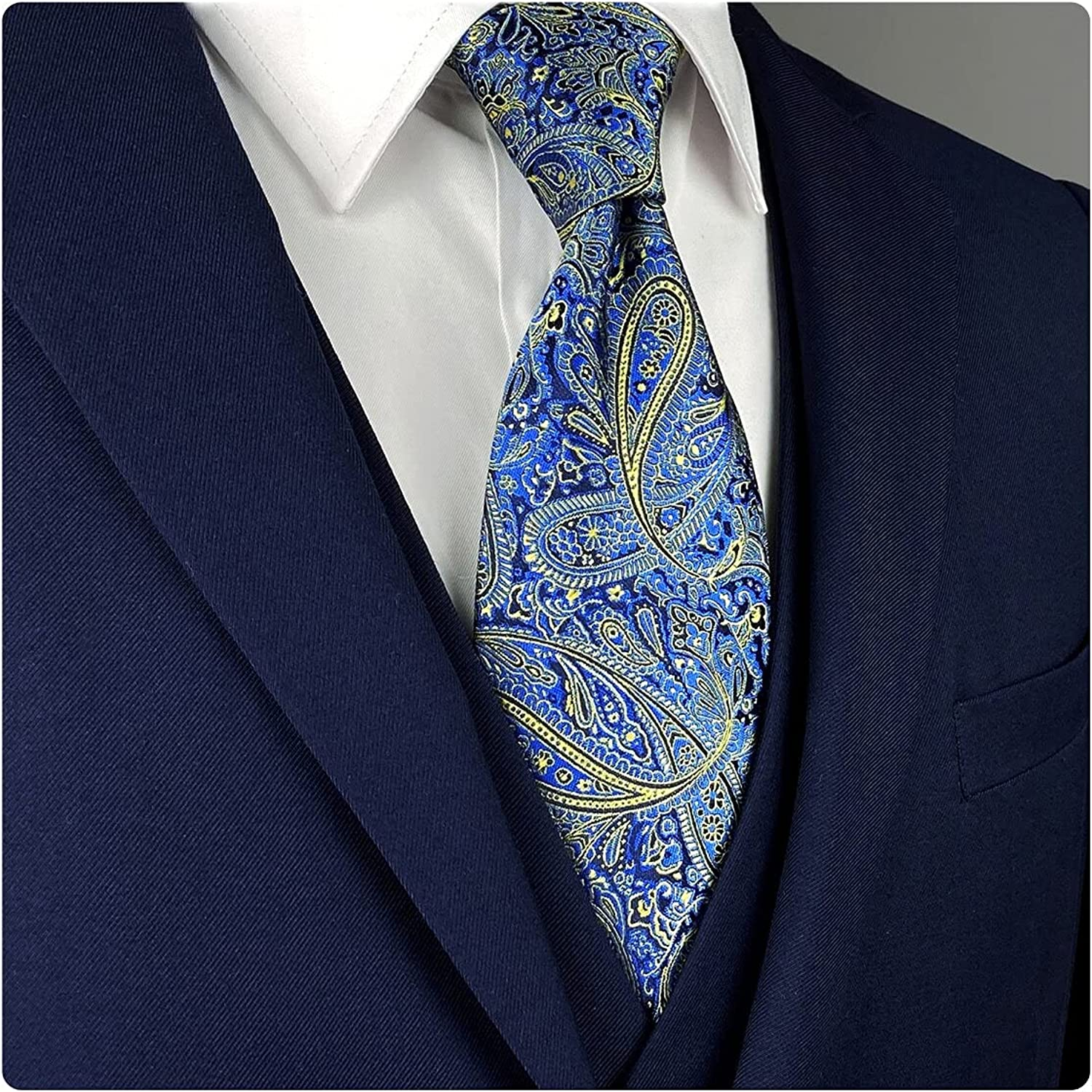 S&W SHLAX&WING Tie for Men Dark Royal Blue and Men's Neckties Paisley Classic Size 57.5