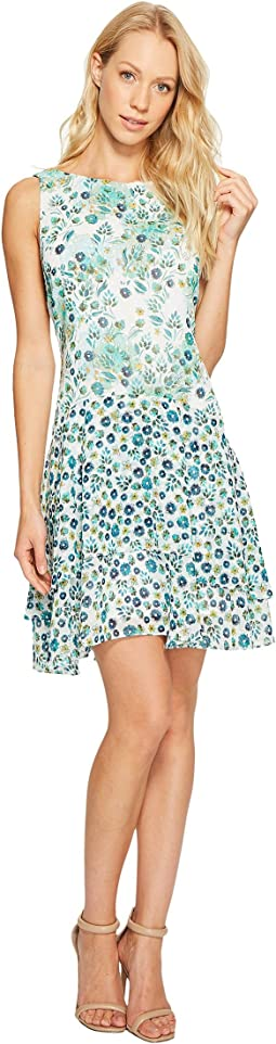 Donna Morgan - Boat Neck Sleeveless Drop Waist Dress with Ruffle Skirt