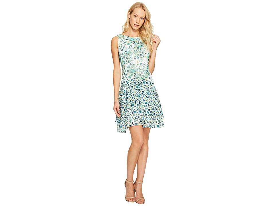 Donna Morgan Boat Neck Sleeveless Drop Waist Dress with Ruffle Skirt (Turquoise Multi) Women