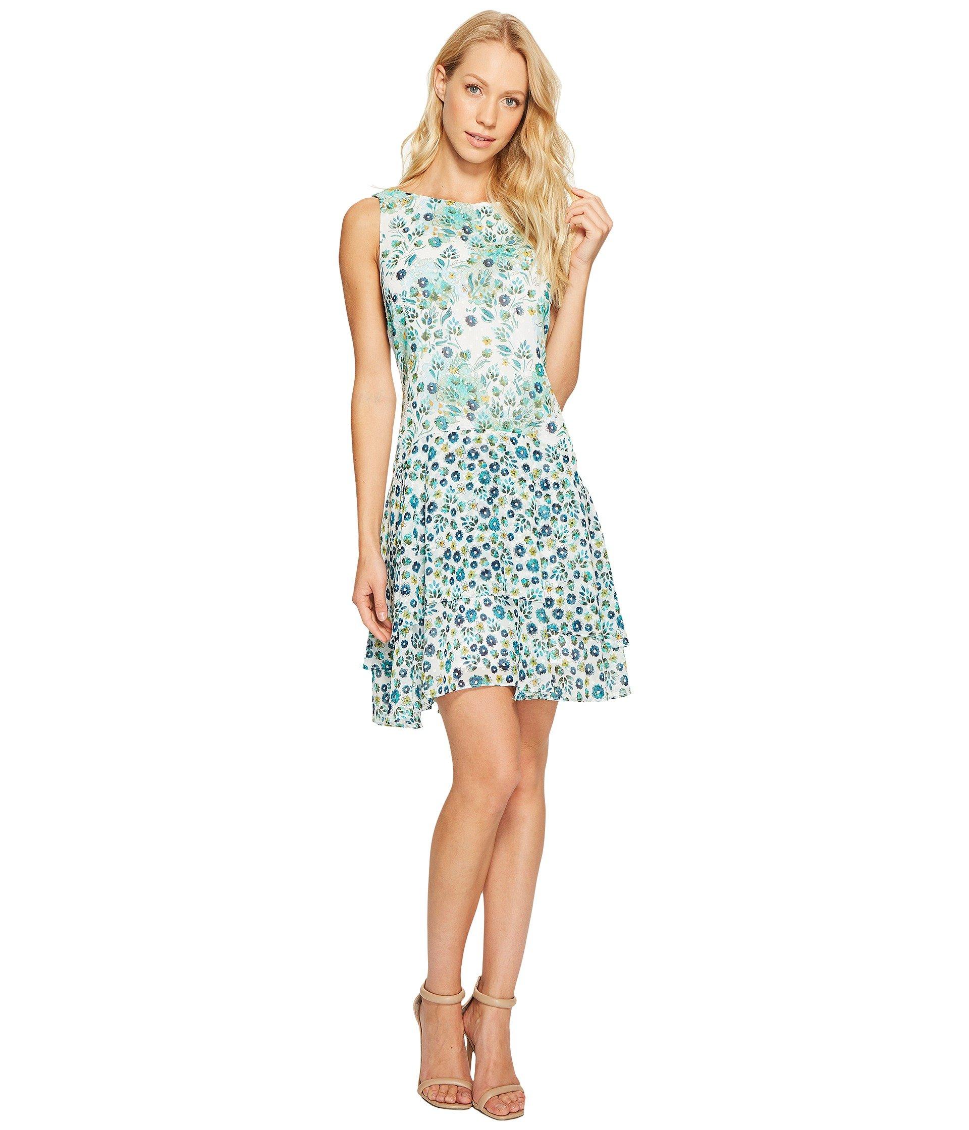 Boat Neck Sleeveless Drop Waist Dress With Ruffle Skirt, Turquoise Multi