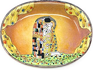Kelvin Chen Klimt's The Kiss Catchall Caddy Vanity Tray, Enameled Soap Dish 5 Inches Long