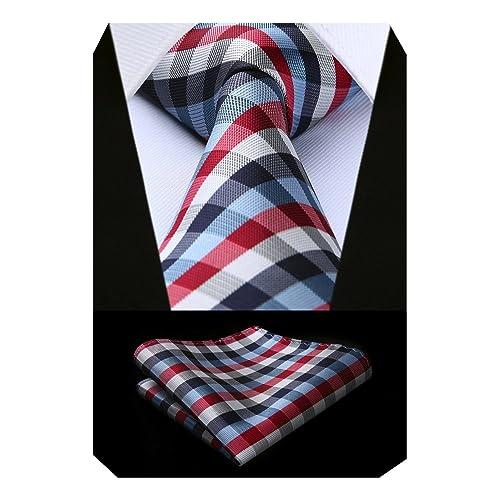 76ee06a72e6fc BIYINI Men's Check Tie Handkerchief Jacquard Woven Classic Men's Necktie & Pocket  Square Set