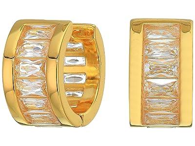 Vince Camuto Baguette Huggie Earrings (Gold/Crystal) Earring