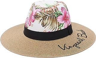 EOZY المرأة سترو بنما قبعة فيدورا شاطئ الشمس قبعة واسعة حافة سترو