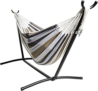 """BACKYARD EXPRESSIONS PATIO · HOME · GARDEN 914921 Two Person Hammock with Stand + Relaxing Audio Track and Luxury Carrying Case, 106"""" L x 47"""" W x 43"""" H, Saharan Nights"""