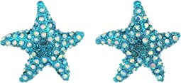 Betsey Johnson Blue Starfish Stud Earrings