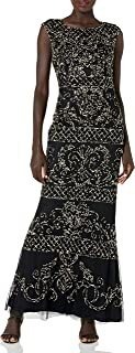 Adrianna Papell womens Extended Shoulder Modified Mermaid Dress with Beaded Pattern Formal Night Out Dress