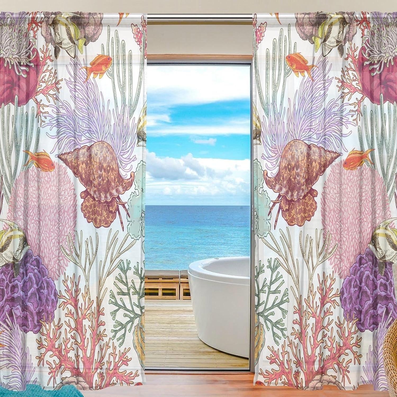 Vantaso Sheer Curtains 84 inch Long Coral Reef Seaweed Shell for Kids Girls Bedroom Living Room Window Decorative 2 Panels