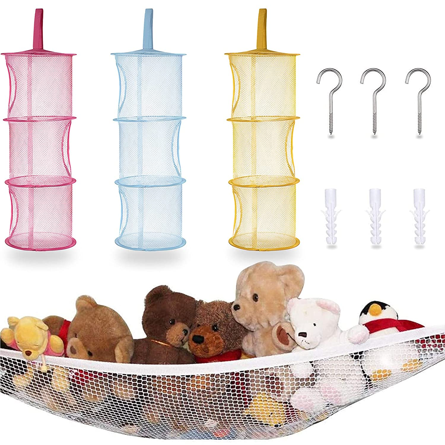 3 Pieces Hanging Mesh Storage Organizer Hanging Mesh Space Saver Bag and 1 Piece Hammock Net Organizer, Corner Mesh Organizer 3 Tier, Neatly Organize Kids' Plush Toys for Kids' Room Living Room
