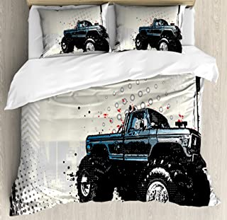 Ambesonne Truck Duvet Cover Set, Halftone Pattern Background with Color Splashed Frame and Monster Truck Motif, Decorative 3 Piece Bedding Set with 2 Pillow Shams, Queen Size, Black Ivory