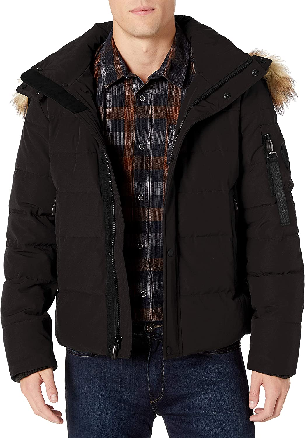 Vince Camuto Men's Puffer Jacket with Faux-Fur Trimmed safety Hood Super beauty product restock quality top!