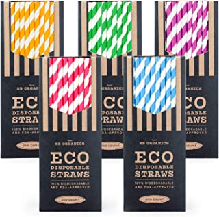 SB Organics Eco-Friendly Paper Drinking Straws, Biodegradable and Compostable for Parties, Birthdays, Weddings - 1000 Pack Mixed