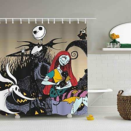 Nightmare-Before Christmas Shower Curtain Halloween Shower Curtain Waterproof Polyester Shower Curtain Set with 12 Hooks 72X72 Inch