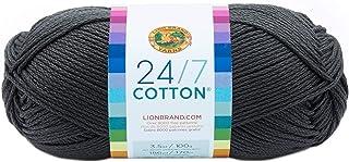 Lion Brand Yarn 761-150 24-7 Cotton Yarn, Charcoal