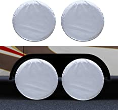 GUNHYI Rv Trailer Tire Cover Set of 4, Four Layers Leather Grain Camper Motorhome Truck Wheel Cover, Sun Rain Snow UV Protection, Universal Fit 27-29 Inch Tire Diameter