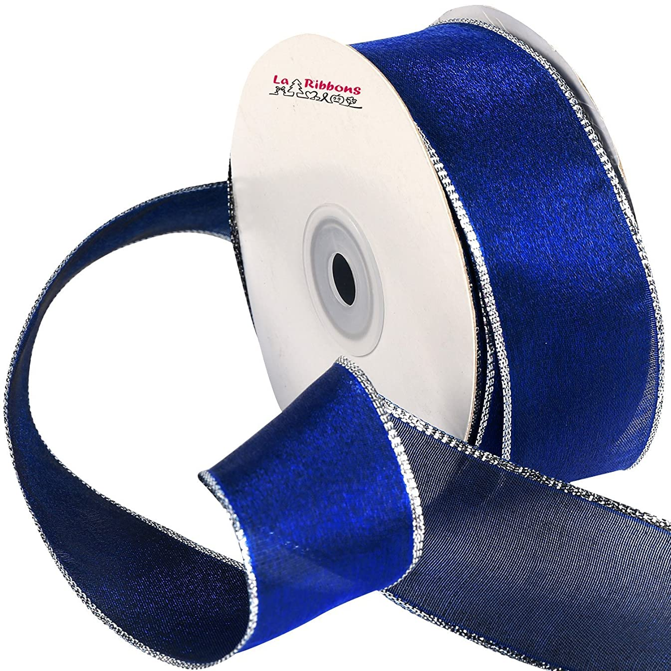Laribbons Wired Edge Craft Ribbon, 1-1/2-inch by 25-Yard Spool, Blue Series (2142)