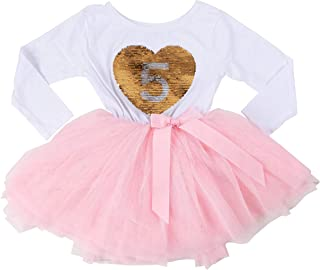 Grace & Lucille Birthday Girl Sequined Dress with Attached Tulle Tutu | Soft & Comfortable Cotton Long Sleeve | Ages 1-6