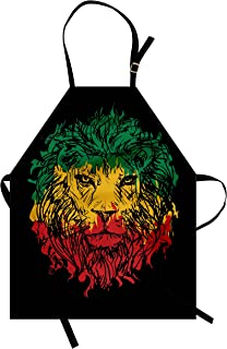 Ambesonne Rasta Apron, Ethiopian Flag Colors on Grunge Sketchy Lion Head with Black Backdrop, Unisex Kitchen Bib with Adjustable Neck for Cooking Gardening, Adult Size, Lime Green