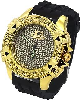 Mens Gold Case Metal Techno King Hip Hop Fashion Black Silicone Quartz Wrist Watches