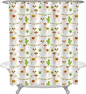 Cute Mexican Wild Animal Llama Shower Curtain, Aalpaca, Cactus, Maracas, Firework, Saddlery, Sombrero Hat, Flags Garlands for Fiesta Party Supplies, Fabric Bathroom Decor Set with Hooks, 36 W x 72 L