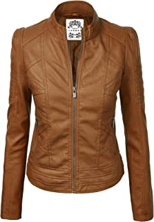 f5de37256938b Made By Johnny MBJ Womens Faux Leather Zip Up Moto Biker Jacket with  Stitching Detail