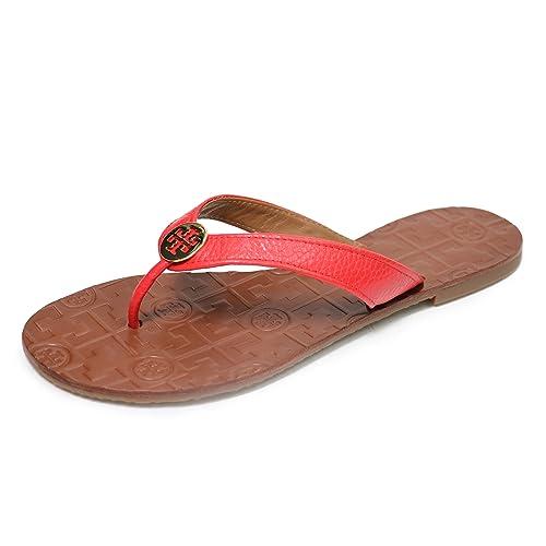 11b47b005fc3fd Tory Burch Thora Flip Flops Saffiano Leather Thong Sandals (8