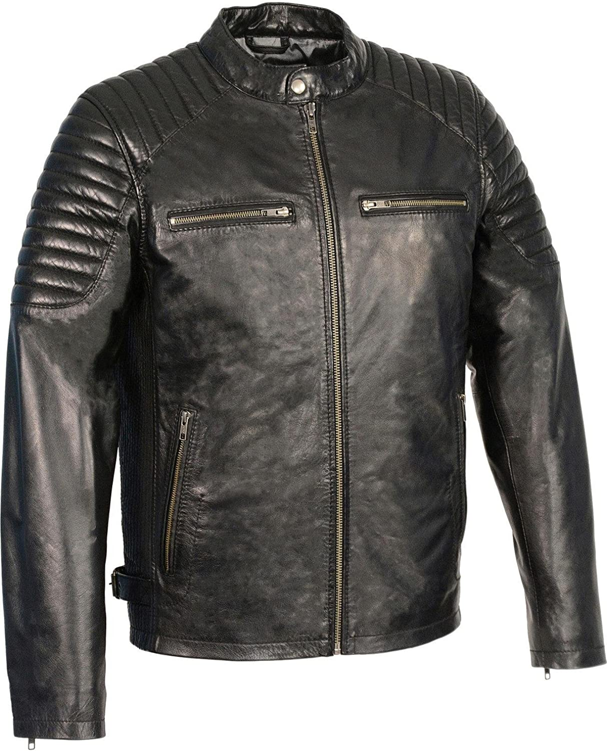 Milwaukee Leather Men's Quilted Shoulders Snap Collar Jacket - Sfm1840-Black