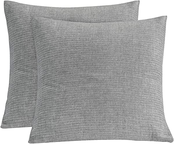 PHF Muslin Euro Sham Cover 26 X 26 For Winter 100 Cotton Pack Of 2 Throw Pillow Cover Yarn Dyed 3 Layers Grey
