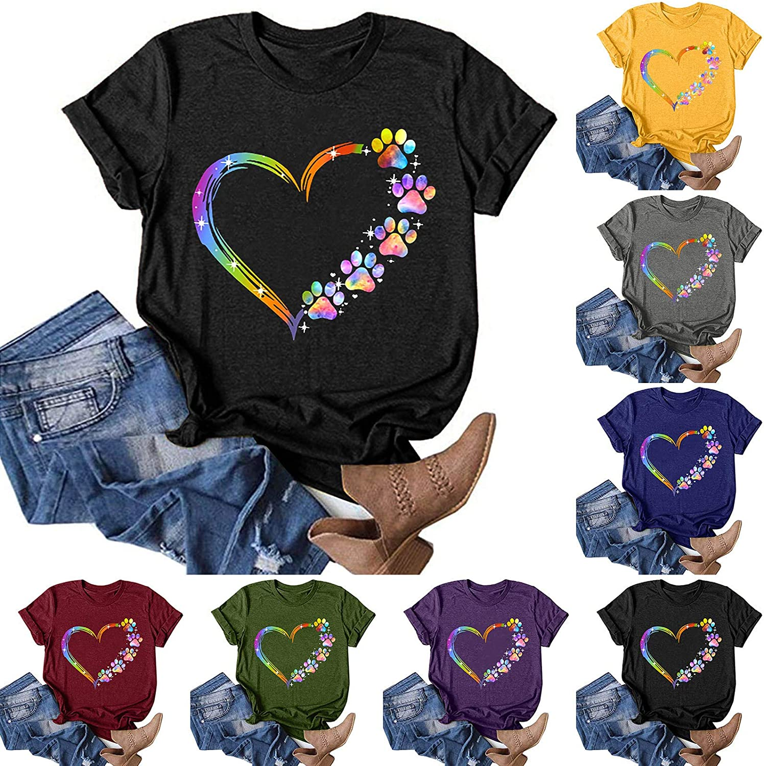 NIANTIE Workout Tops for Women, Women's Heart-Shaped Graphic Shirts Casual Summer Tops Sleeveless Holiday Tee Shirts Blouses