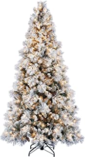 Home Heritage Snowdrift Spruce 7.5 Foot Snow Flocked Artificial Pre-Lit Christmas Tree with White Clear Lights