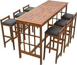 HOMCOM 7 Piece Dining Table Set Bar Acacia Wood Iconic Prairie School Style Bar Height - Table/ 6 Stools
