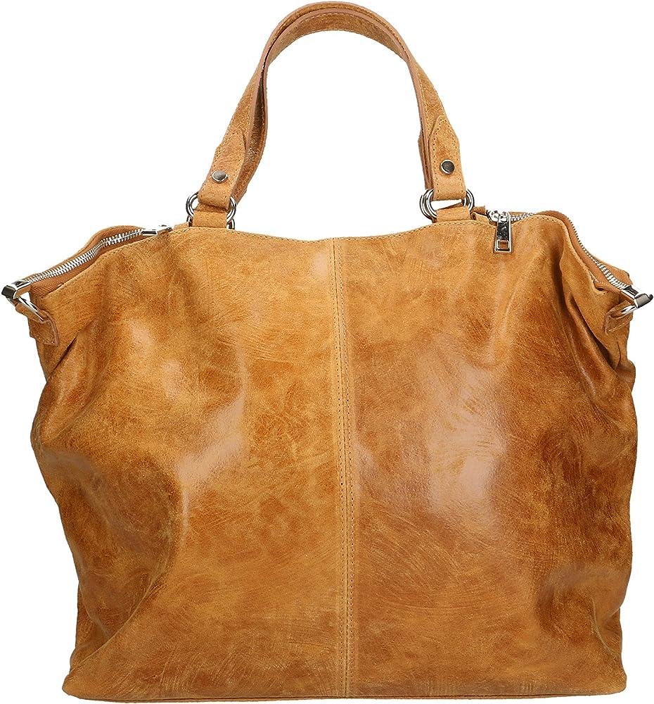 Chicca borse ctm,  borsa a mano grande da donna, in vera pelle effetto stampato, con tracolla, cuo 80055-CUOIO