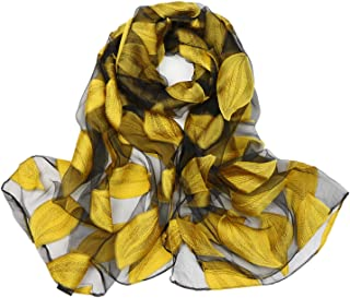 038e977e8 DreamBeauty Silk Scarves for Women 100% Silk Scarves with Leaves Printing  Wrap and Shawls