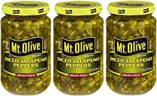 Mt. Olive Diced Jalapeno Peppers 12 Ounce (Pack of 3)