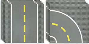 Best Blocks Stackable Road Plates Set - 4 Straight, 4 Curved, 8 Pack - 10 x 10 Inch Building Baseplates for Ages 3 and Up, Compatible with All Major Brands