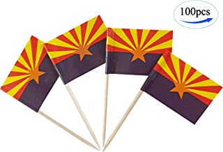 JBCD Arizona Flag Toothpicks Arizona Flags 100 Pcs Cupcake Toppers Flag Tooth Picks State Small Mini Stick Paper Flags Picks Party Decorations Celebrations Cocktail Food Bar Cake Flags