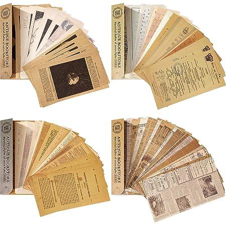 240 Pièces Papiers de Scrapbooking Vintage Papier Matériel Scrapbooking Journalisation Vintage Lettre Décorative Collection Rétro Antique pour Scrapbooking Bricolage, Journal Artisanat Art