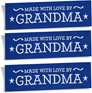 Wunderlabel Made with Love by Grandma Nana Granny Crafting Fashion Woven Ribbon Ribbons Tag Clothing Sewing Sew Clothes Garment Fabric Material Embroidered Label Tags, Blue on White on Blue, 25 Labels
