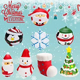 WATINC 8 Pack Christmas Squishies Toys, Santa Christmas Tree& Kawaii Snowman Soft Slow Rising Jumbo Squishies Cream Scented Anxiety Relief Hand Toys, Great Gifts for Kids, Holiday Party Favors