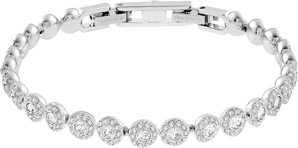 Swarovski angelic,braccialetto per donna placcato rodio con una fila di clear crystal a taglio circolare