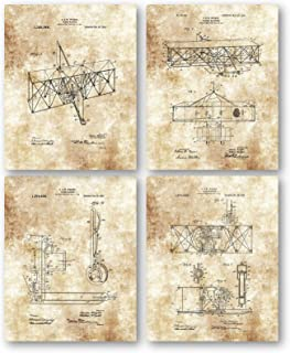 Ramini Brands Original Wright Brothers Flying Machine Patent Art Drawings - Set of 4 8 x 10 Unframed Prints - Great Gift for Pilots, Co-Pilots, Air Traffic Controllers