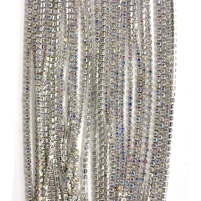Aoyoho 11 Yard Crystal AB Rhinestone Close Chain Trim Sewing Craft 1 inch
