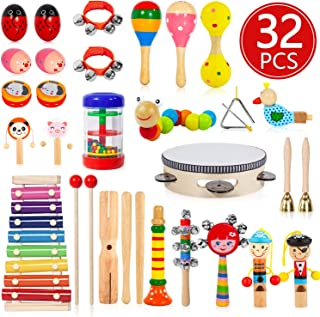 AOKIWO Kids Musical Instruments, 32Pcs 19Types Wooden Instruments Tambourine Xylophone Toys for Kids Children, Preschool Educational Learning Musical Toys for Boys Girls with Storage Backpack
