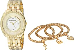 Madden Girl Watch with Charm and Stone Bracelet Set SMGS017